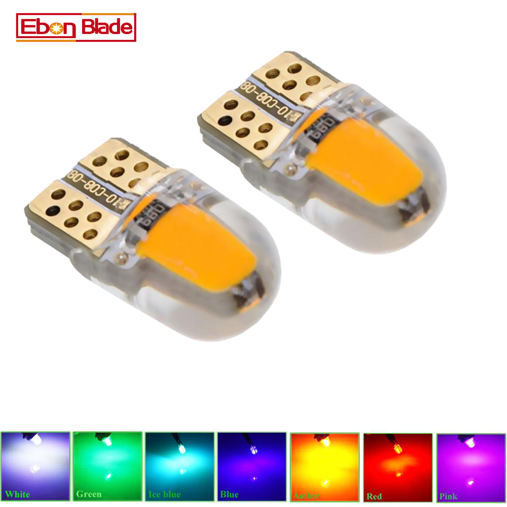 2/4 Pcs Car <font><b>Led</b></font> Light T10 <font><b>W5W</b></font> 12V 194 168 2825 Lights Bulbs Silicone <font><b>Cob</b></font> Auto Interior Lamp Bulb Amber Yellow Orange RED White image