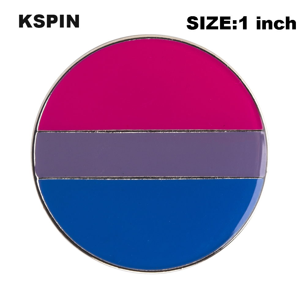 <font><b>Bisexual</b></font> <font><b>Pride</b></font> Rainbow Flag Rozet Metal Chapas Metalicas Pins Icon Backpack Brooch for Gift XY0314 image
