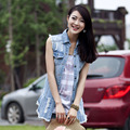 new 2014 spring summer medium-long slim denim vest female tassel girls Women's Clothing Coats Jackets Vests M~4XL WM690G