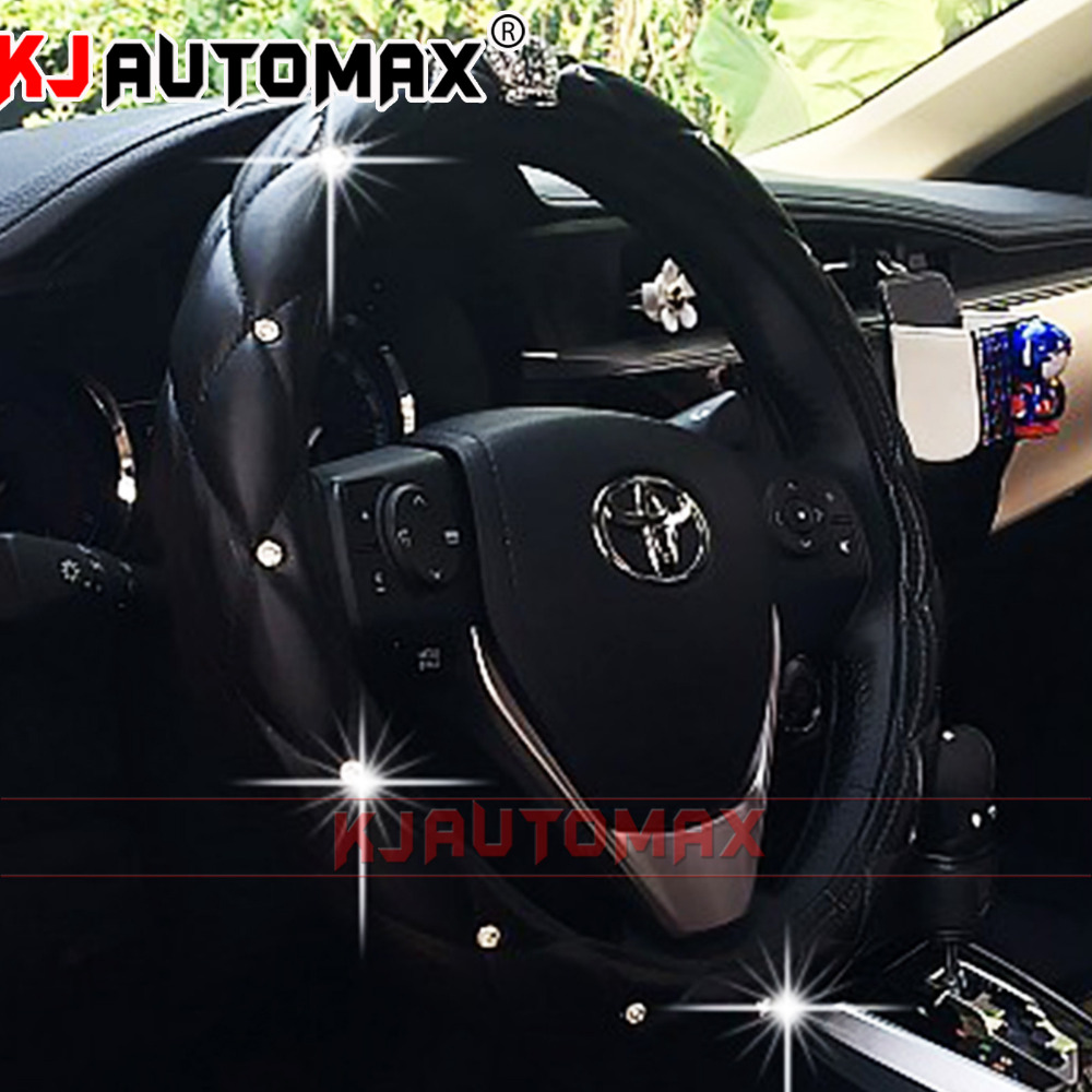 Black Crown Car steering wheel cover Diamond Crystal 38 CM Multiple Colour Four Seasons KJautomax