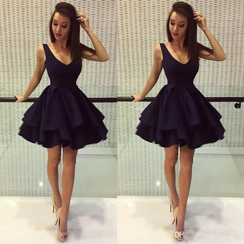 Cheap Black Puffy Short Party Dresses A Line Deep V Neck Satin 8th Grade Prom Dresses Homecoming Dresses
