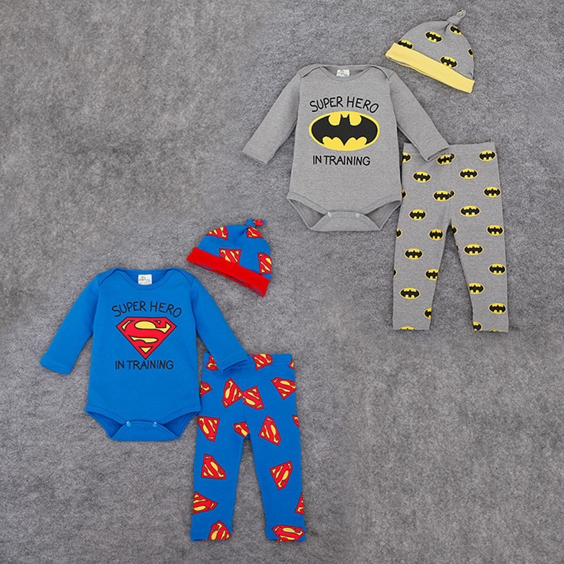 Baby Boys Clothes Autumn Kids Superman Clothing Set 3pcs Cotton Long Sleeve Romper + Pant + Hat Sets Newborn Girls Clothes he hello enjoy baby rompers long sleeve cotton baby infant autumn animal newborn baby clothes romper hat pants 3pcs clothing set