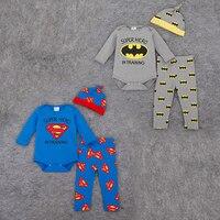 Baby Boys Clothes Autumn Kids Superman Clothing Set 3pcs Cotton Long Sleeve Romper Pant Hat Sets