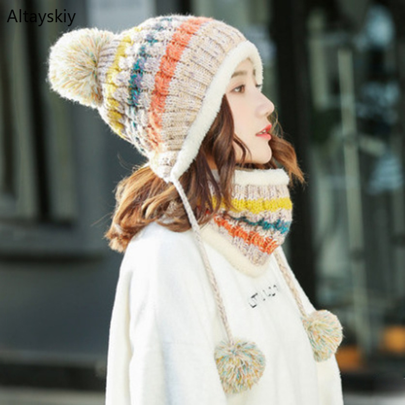 Scarf Hat Sets Women Warm Striped Knitted Hairball Thicker Plush Womens Hats Korean Style Leisure Trendy Lovely All-match Kawaii