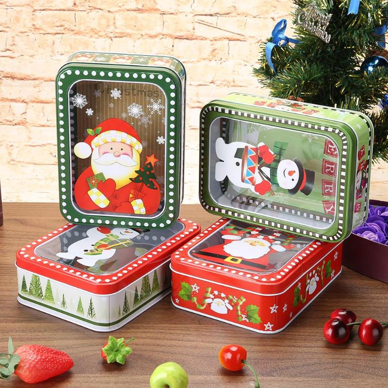 Christmas Gift Package Tin Box Candy Cookies Biscuit Case Biscuit Case Gift Festive Supplies 4styles 2018 Christmas Decorations