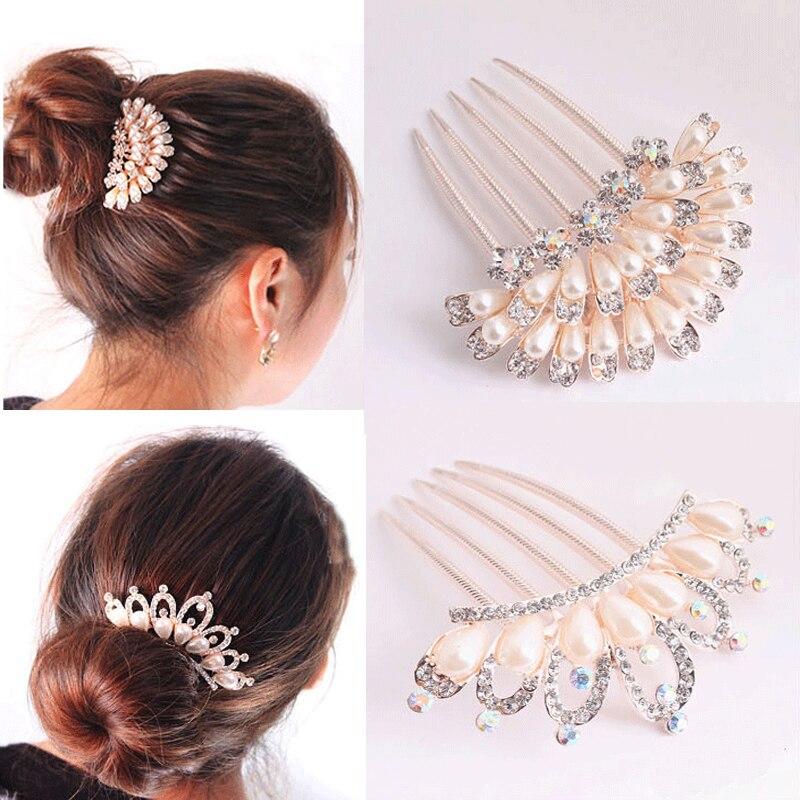 LNRRABC Nové květinové krystalové drahokamy Perly Ženy Svatební svatební vlasové perly Vlasy Pin Příslušenství pro Party Hair Comb