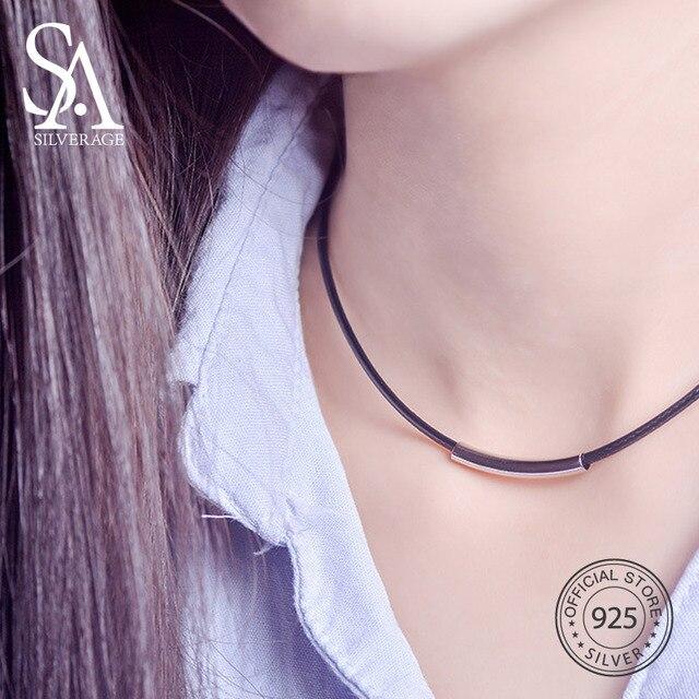 ce6ac0e39be6 SA SILVERAGE 925 Silver negro cuero cuerda tubo gargantilla collar de plata  925 colgante gargantillas collares