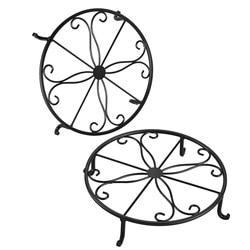 YHYS 12-cal ciężkich roślina doniczkowa stojak  zestaw 2  sztuka kute garnek trójnóg  stałe żelazny garnek uchwyt  ozdoby ogrodowe uchwyt na pot  czarny