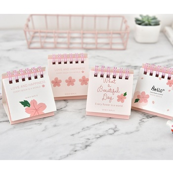 2019 Cute Cherry Blossoms Desk Calendar DIY Mini Portable Table Calendars Daily Schedule Planner 2018.09~2019.12