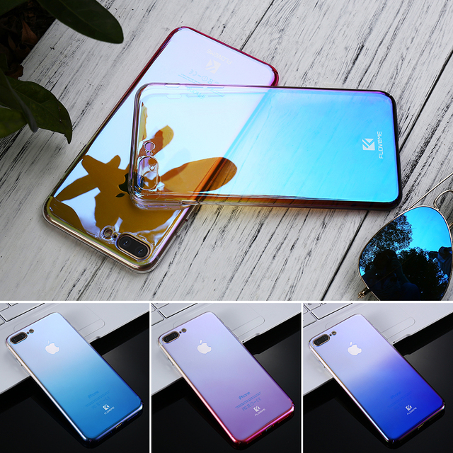 FLOVEME For iPhone 6 6S Plus Case 5 5S SE Gradient Blue-Ray Light Case For Apple iPhone 7 7 Plus 7S 5S 5 Clear Accessories Cover