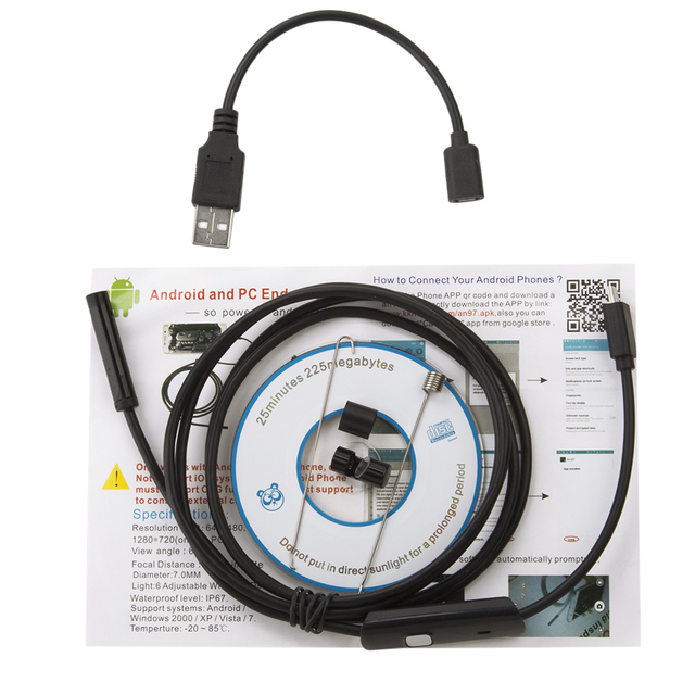 5.5/7/8mm Lens 1/1.5/3.5/5m 720P Android USB Endoscope Camera Flexible Snake USB Car Repair Android Phone Borescope Camera