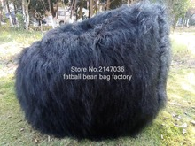 Large Faux Fur Beanbag Bean Bag Cover Shaggy Fur White Soft Luxury Lounge Chair, long fur black bean bag loungers