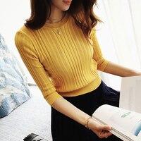 The New 2017 Half Sleeve Cotton Crewneck Sweater Female Sleeve Head Sleeve Shirt Five Solid Tight