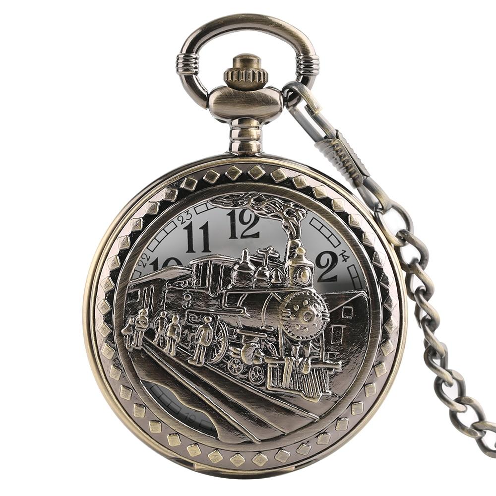 Bronze Train Pocket Watch Pendant Chain Women Necklace Quartz Watches Men Boy Kid Clock Fob Reloj De Bolsillo Xmas Gift