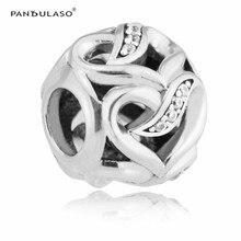 Cintas de Love Borrar CZ Beads Fit Pandora Charms Pulseras de Plata 925 Original para Las Mujeres DIY Joyería del Día de San Valentín regalos