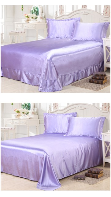 light purple lilac bedding sets california king size queen full fitted silk satin bed sheet duvet cover double bedspreads 6pcs in bedding sets from home - Liliac Bedding