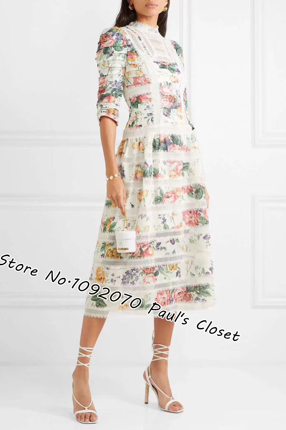 Women White Floral Pintuck Long Dress Linen Painterly Roses Pintucked Midi Dress With Lace Insert Trims