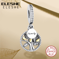 925 Sterling Silver FAMILY TREE SILVER DANGLE WITH 14K Gold CLEAR CUBIC ZIRCONIA CHARM Fit Pandora