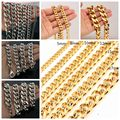 8/10/12/15/17/19mm Wide Silver/Gold Tone Cuban Curb Link Chain Bracelet/Necklace Men's Stainless Steel Jewelry 7-40inch Choose
