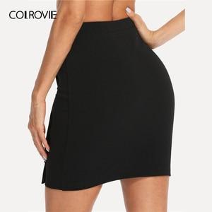 Image 2 - COLROVIE Black Solid Gold Button Front Bodycon Elegant Skirt Women 2019 Summer Korean Streetwear Mini Skirt Office Pencil Skirts