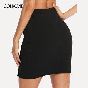 Image 2 - COLROVIE Schwarz Solid Gold Taste Front Bodycon Elegante Rock Frauen 2019 Sommer Koreanische Streetwear Mini Rock Büro Bleistift Röcke