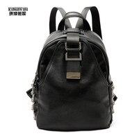 Cow Leather Trim Backpack Women Back Pack Rivets Mounted Belt Trim Big Volume Travel Bagpack Large