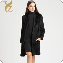 YZ Real Knitted Rabbit Fur Coat Women Fashion Coat Thick Knitted Rabbit Fur Handmade Overcoat Women