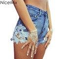 NiceMix Moda 2017 Summer Shorts Mujeres Sexy Lace Patchwork Denim Jeans Cintura Alta Pantalones Cortos Borla Ripped Short Pantalon Femme