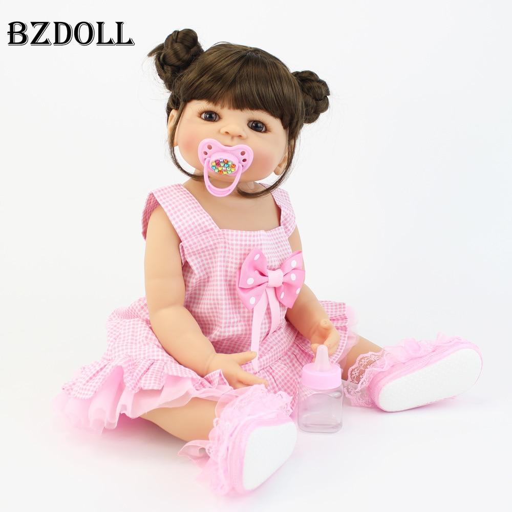 55cm Full Silicone Vinyl Body Reborn Baby Doll Toys For Girls Boneca Newborn Toddler Bebe Alive