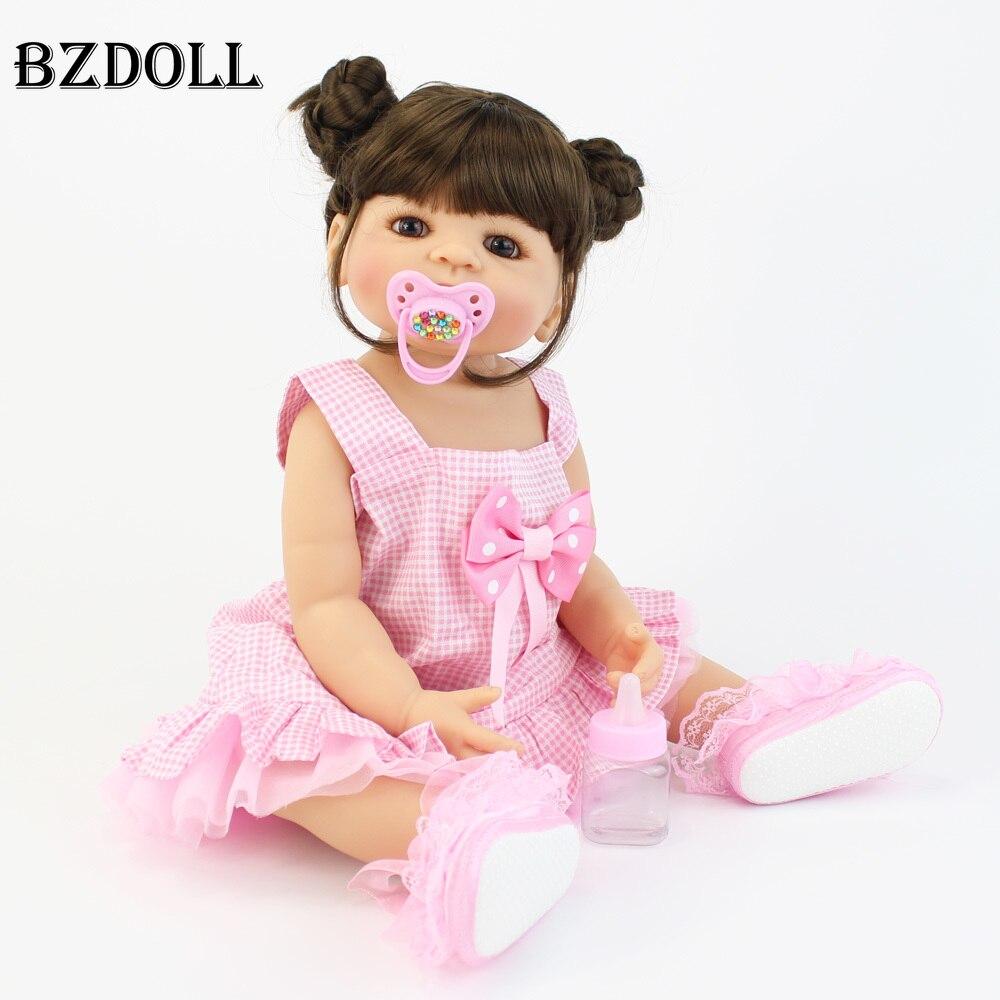 Oyuncaklar ve Hobi Ürünleri'ten Bebekler'de 55cm Tam Silikon Vinil Vücut Reborn Bebek oyuncak bebekler Kızlar Için Boneca Yenidoğan Toddler Bebe Canlı doğum günü hediyesi Çocuk Bathe Oyuncak'da  Grup 1