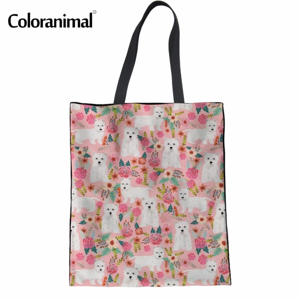Coloranimal Cute Westie Florals Pattern Women Casual Canvas Handbags Famous Designer Women Tote Shoulder Package Shopping Bags 3d florals pattern u pouch design voile briefs