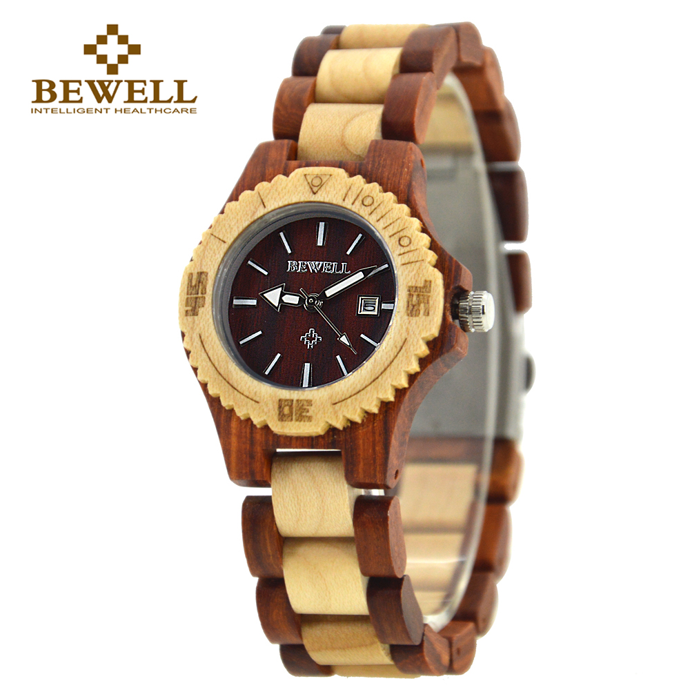 BEWELL Wooden Watch Women's Watch Håndlaget merkevare design Watch Women's Casual Top Watch Wooden Clock 020AL