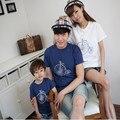 T-shirt pai mãe do bebê família moda olhar família algodão combinando roupas bicicleta de manga curta 0038