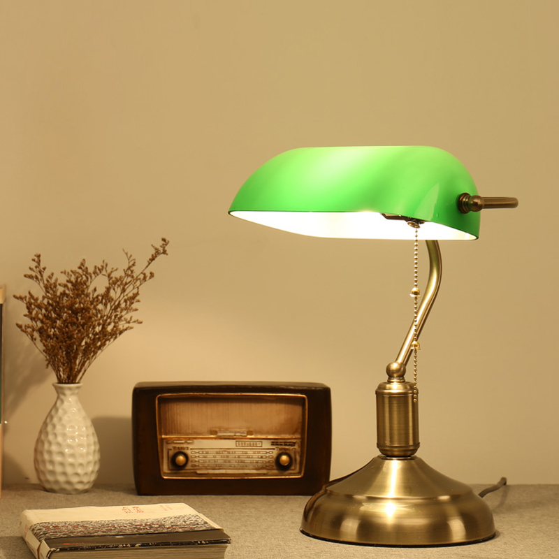 Antique Bronze Desk Lamps Traditional Table Lamps Reading Light Green Glass Adjustable Task Desk