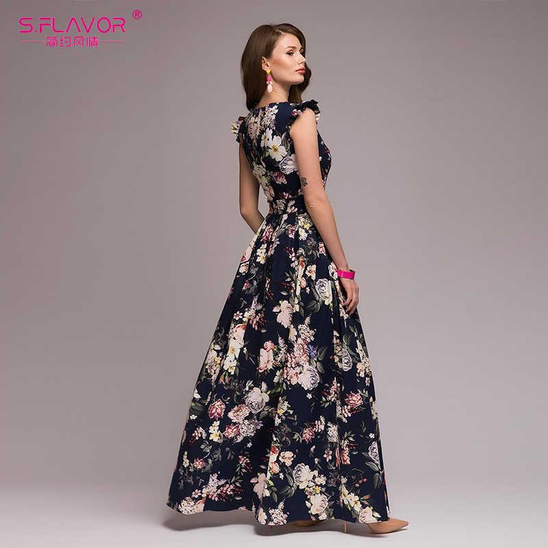S. FLAVOR женское вечернее платье с принтом 2019 популярное без рукавов, с квадратным вырезом сексуальное длинное платье vestidos женское элегантное весенне-летнее платье
