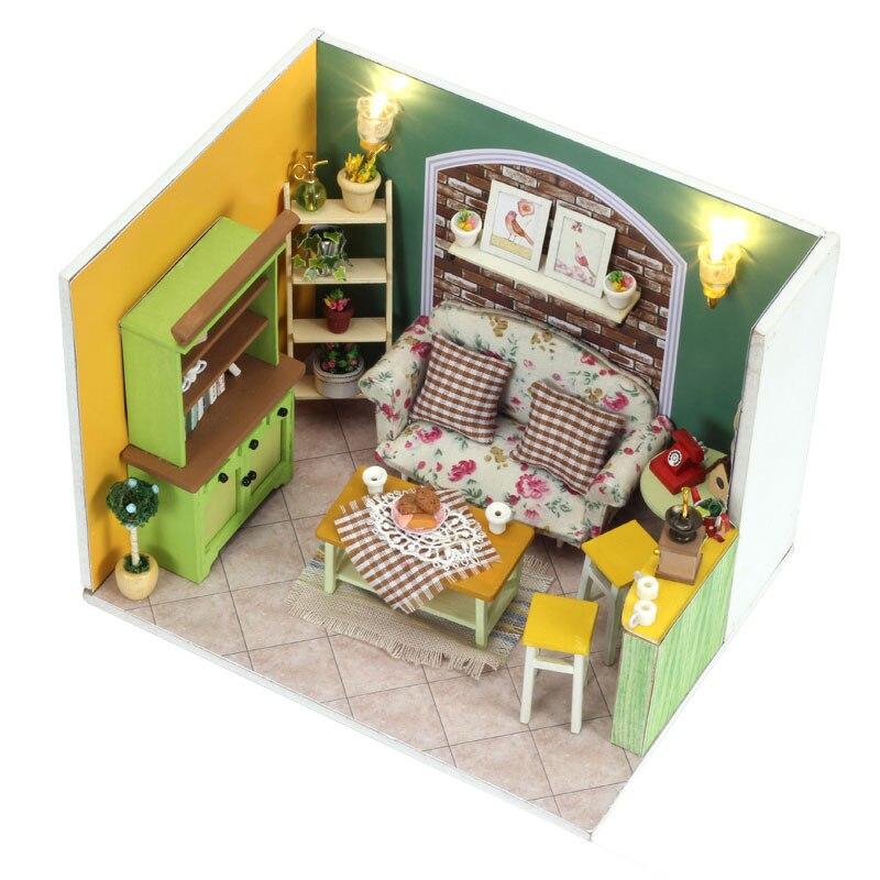 DIY Doll House Miniature Creative Model With 3D Furnitures LED Wooden Handmade Dollhouse Toys Gift Green Island Tea Q002 #E