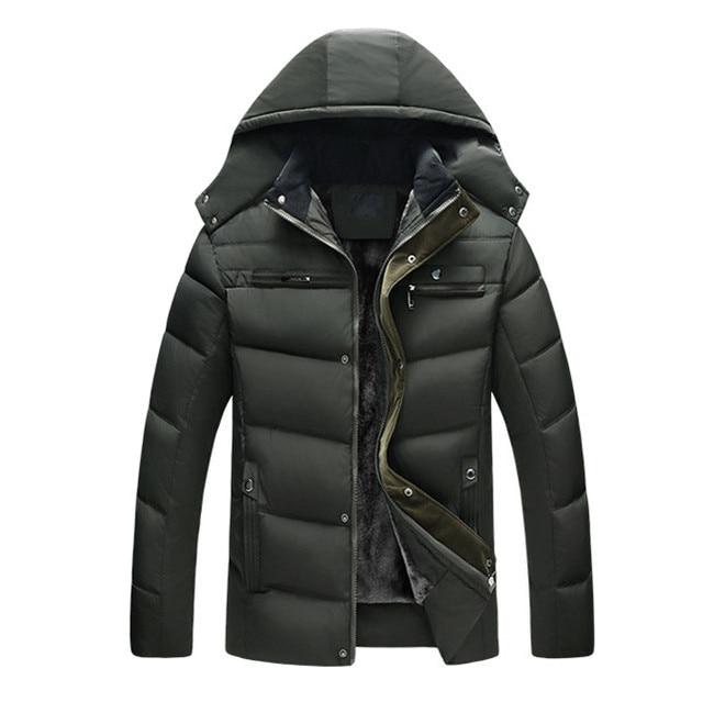 Winter Thick Warm Coats Men Thermal Fleece Parkas Hooded Man Windbreaker Jackets Stand Collar Coat XL-4XL Plus Size Overcoat