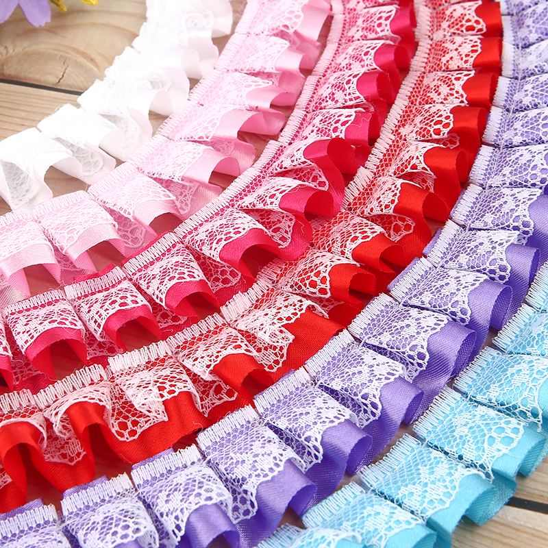 DIY Sewing Quilting Lace Ribbon Fabric Embroidered Polyester Double Layer Lace Ribbon Trim Fabric For DIY Patchwork Width 2 5cm in Lace from Home Garden