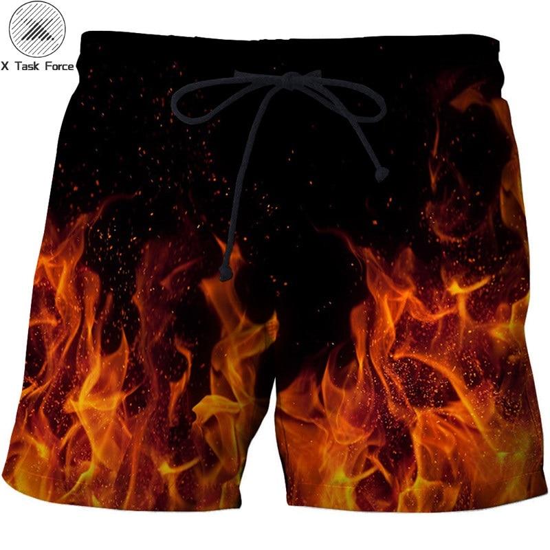 Fire Printed Beach   Shorts   Men Pants Funny   Board     Shorts   Plage Quick Dry   Shorts   Casual Swimwear Streetwear DropShip X Task Force