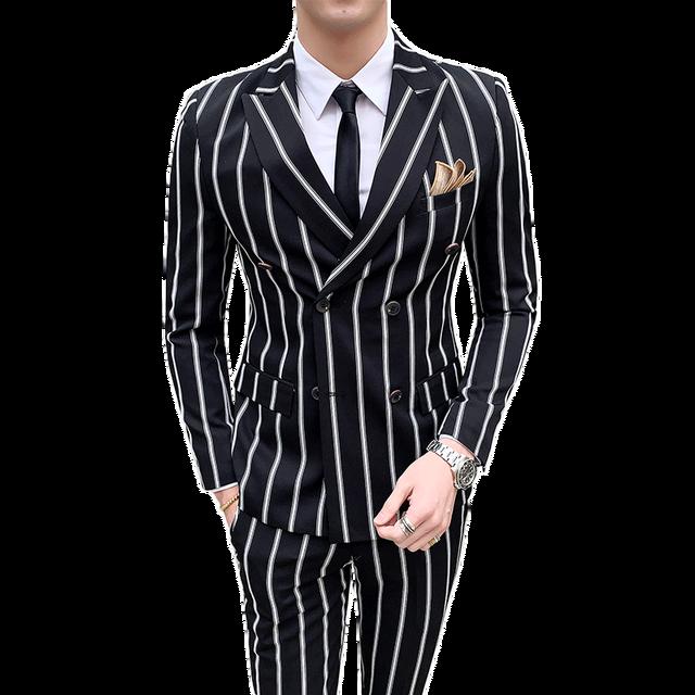 2019 Casual Tuxedo Striped Wedding Men Korean Dress Suits Suit Slim Fit Costume Homme Quality Business M-3XL Blazer and Pant