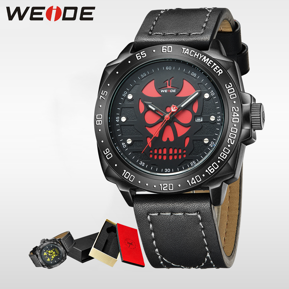 WEIDE Brand halloween Watch Men  Waterproof Quartz Wristwatch Analog Display Date Leather Strap Relogio Masculino Montre Homme weide casual genuin new watch men quartz digital date alarm waterproof fashion clock relogio masculino relojes double display