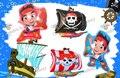 O Envio gratuito de 4 pçs/lote BalloonGlobos Balões Folha de Jake and The Neverland Pirata Fontes do Partido de Aniversário Balão de Hélio