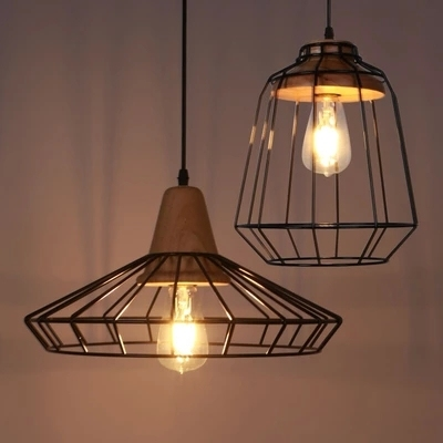 Nordic American Country Lighting Vintage Wood Pendant Light Loft Edison Fixture Cage Lamp