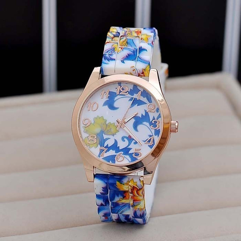 2017 Hot Luxury New Silicon Strap Watch Beautiful Flower Porcelain Design Wristwatch Women Students Girls Birthday Gift  LL
