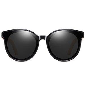 Женские поляризационные солнцезащитные очки KDEAM, деревянные солнцезащитные очки в стиле стимпанк с коробкой и кошачьим глазом ручной работы