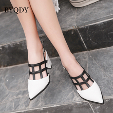 BYQDY Woman Sandals High Square Heel Pumps Sexy Office Lady Pointed Toe White Black Shoes Size 35-40 Sling backs