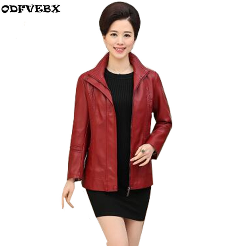 High-end Fashion Middle-aged Women   Leather   Jacket New Autumn Winter Outerwear Casual Large Size Female PU   Leather   Jacket ODFVEBX