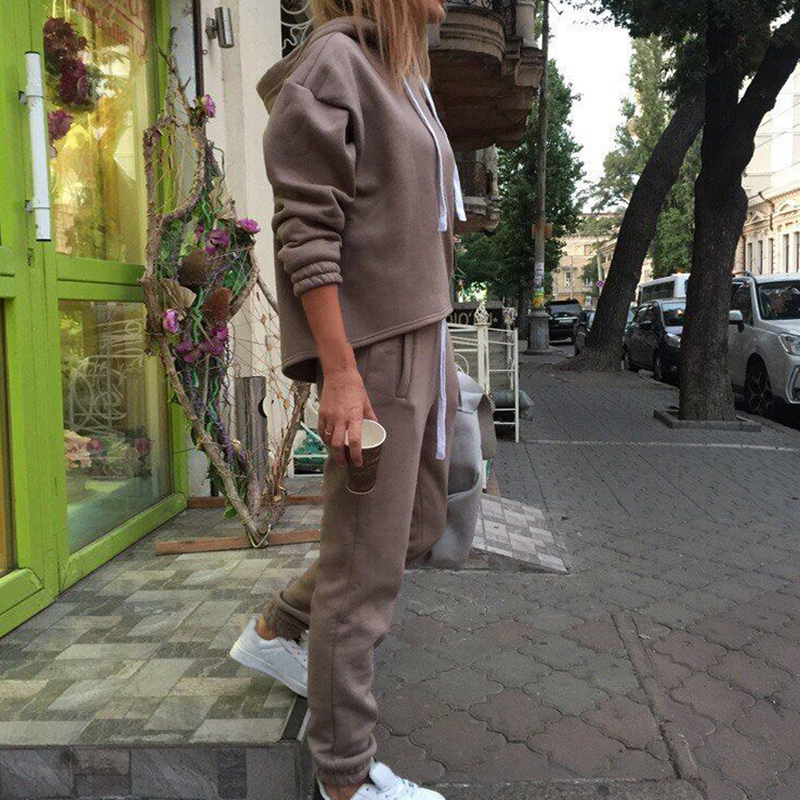 2019 Women 2 Piece Outfits - Solid Pullover Sweatsuits Long Sleeve Pullover Sweatshirt Skinny Long Pants Fitness Tracksuit Set