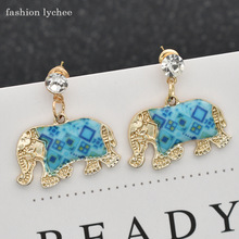 3112c71d3 fashion lychee Cartoon Enamel Elephant Dangle Animal India Earrings For  Girls Multi Color Vintage Crystal Jhumka