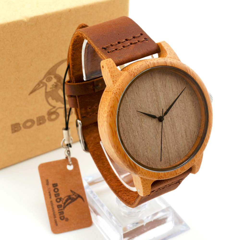 BOBO BIRD font b Watches b font Men s Bamboo Wooden Wristwatches With Genuine Cowhide Leather